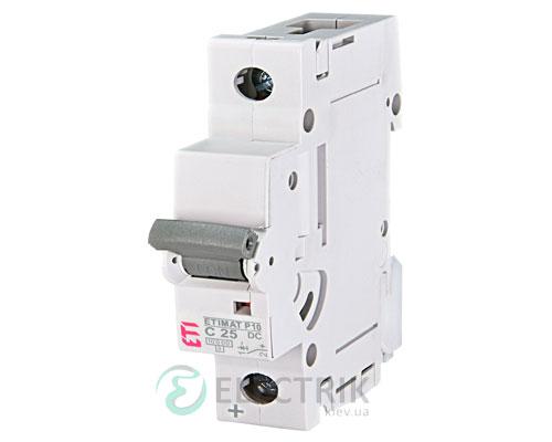 Автоматический выключатель ETIMAT P10 DC (10кА) 1P 25 А хар-ка C, ETI (Словения)