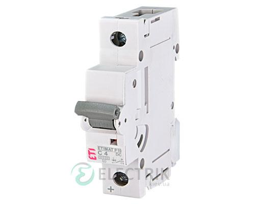 Автоматический выключатель ETIMAT P10 DC (10кА) 1P 4 А хар-ка C, ETI (Словения)