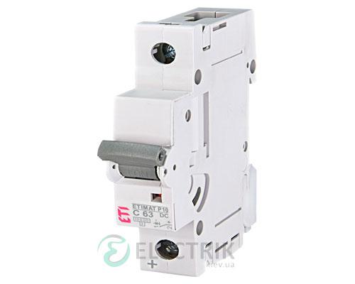 Автоматический выключатель ETIMAT P10 DC (10кА) 1P 63 А хар-ка C, ETI (Словения)
