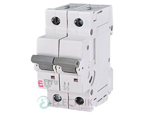 Автоматический выключатель ETIMAT P10 DC (10кА) 2P 0,5 А хар-ка C, ETI (Словения)