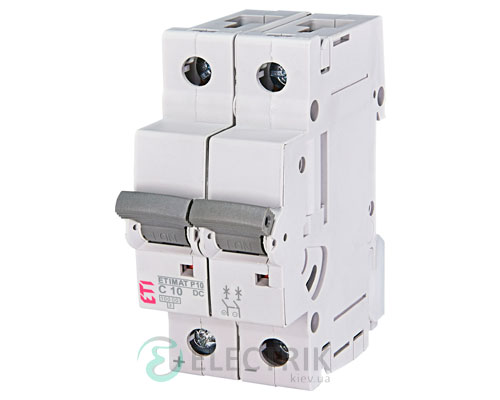 Автоматический выключатель ETIMAT P10 DC (10кА) 2P 10 А хар-ка C, ETI (Словения)