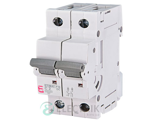 Автоматический выключатель ETIMAT P10 DC (10кА) 2P 2 А хар-ка C, ETI (Словения)