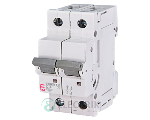 Автоматический выключатель ETIMAT P10 DC (10кА) 2P 4 А хар-ка C, ETI (Словения)