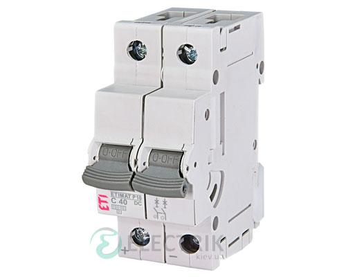 Автоматический выключатель ETIMAT P10 DC (10кА) 2P 40 А хар-ка C, ETI (Словения)