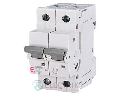 Автоматический выключатель ETIMAT P10 DC (10кА) 2P 6 А хар-ка C, ETI (Словения)