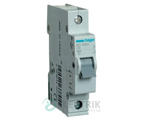 Автоматический выключатель MC106A 1P 6kA C-6A 1M, Hager