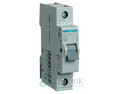Автоматический выключатель MC110A 1P 6kA C-10A 1M, Hager