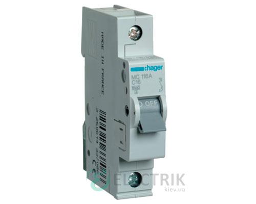 Автоматический выключатель MC116A 1P 6kA C-16A 1M, Hager