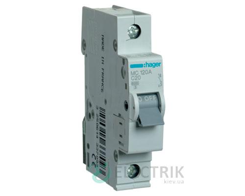 Автоматический выключатель MC120A 1P 6kA C-20A 1M, Hager