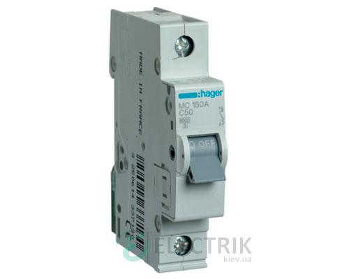 Автоматический выключатель MC150A 1P 6kA C-50A 1M, Hager