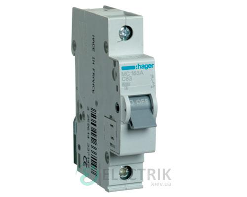 Автоматический выключатель MC163A 1P 6kA C-63A 1M, Hager