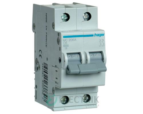 Автоматический выключатель MC206A 2P 6kA C-6A 2M, Hager