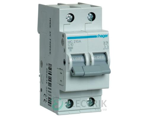Автоматический выключатель MC210A 2P 6kA C-10A 2M, Hager