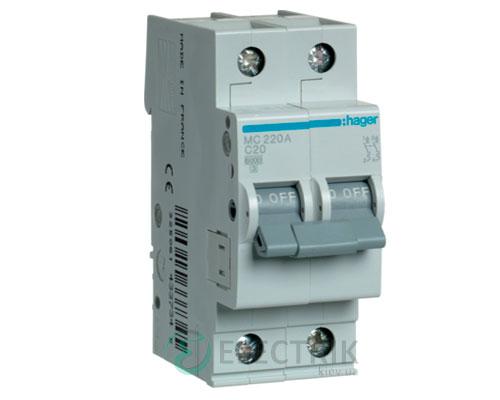 Автоматический выключатель MC220A 2P 6kA C-20A 2M, Hager