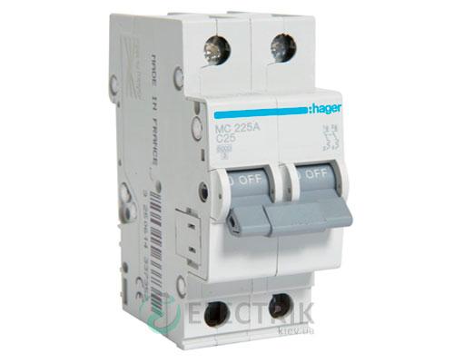 Автоматический выключатель MC225A 2P 6kA C-25A 2M, Hager