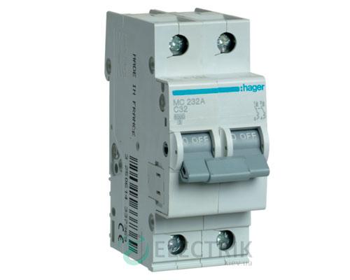 Автоматический выключатель MC232A 2P 6kA C-32A 2M, Hager