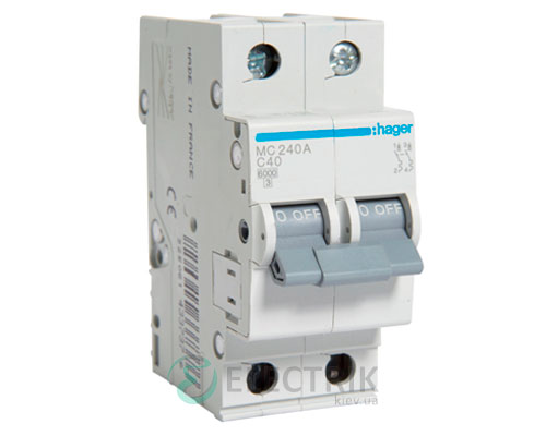 Автоматический выключатель MC240A 2P 6kA C-40A 2M, Hager