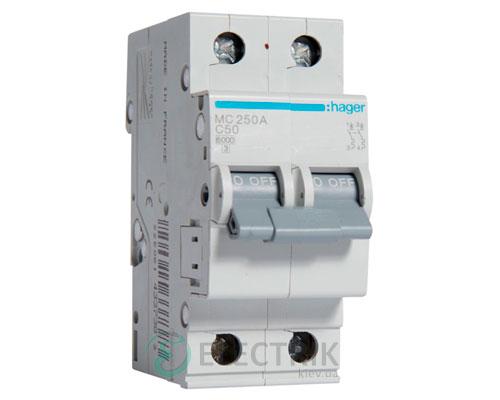 Автоматический выключатель MC250A 2P 6kA C-50A 2M, Hager