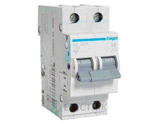 Автоматический выключатель MC263A 2P 6kA C-63A 2M, Hager