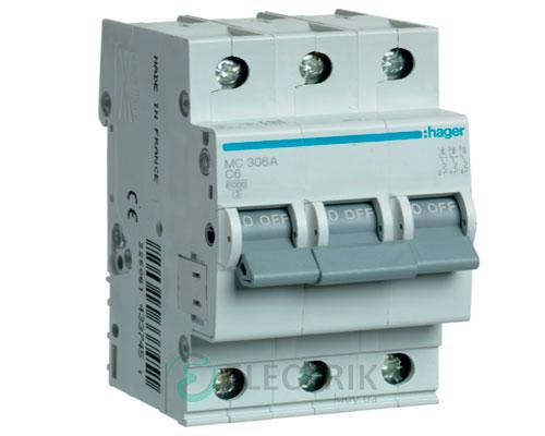Автоматический выключатель MC306A 3P 6kA C-6A 3M, Hager