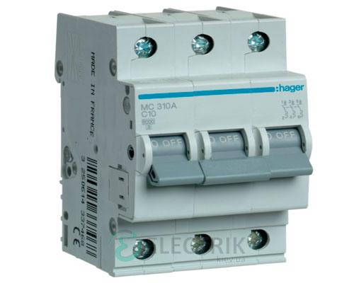 Автоматический выключатель MC310A 3P 6kA C-10A 3M, Hager