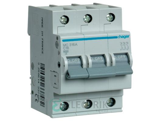 Автоматический выключатель MC316A 3P 6kA C-16A 3M, Hager