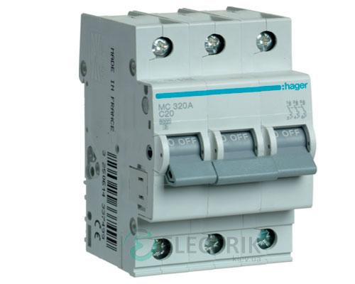 Автоматический выключатель MC320A 3P 6kA C-20A 3M, Hager