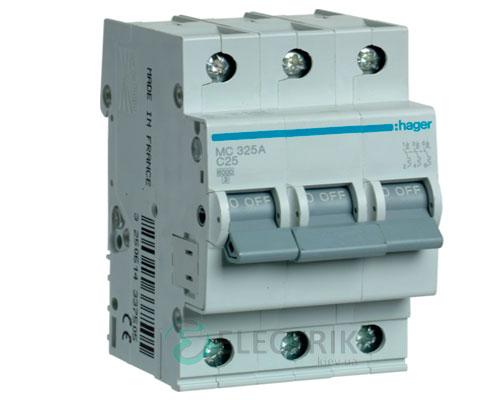 Автоматический выключатель MC325A 3P 6kA C-25A 3M, Hager
