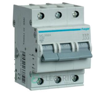 Автоматический выключатель MC332A 3P 6kA C-32A 3M, Hager