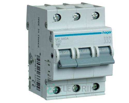 Автоматический выключатель MC340A 3P 6kA C-40A 3M, Hager