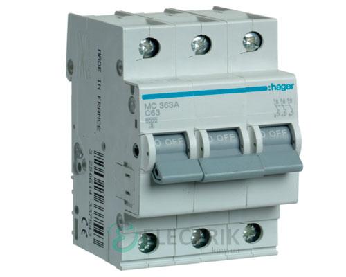 Автоматический выключатель MC363A 3P 6kA C-63A 3M, Hager