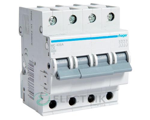Автоматический выключатель MC406A 4P 6kA C-6A 4M, Hager