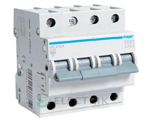 Автоматический выключатель MC410A 4P 6kA C-10A 4M, Hager