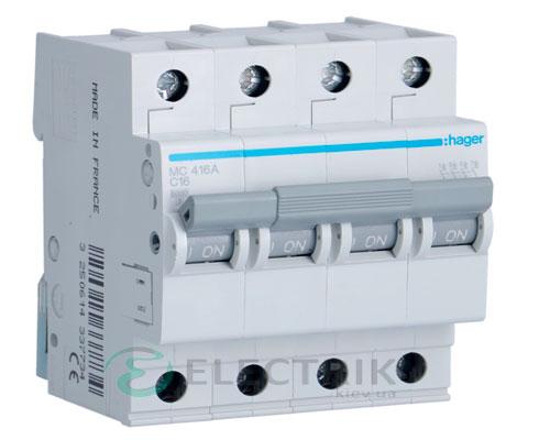 Автоматический выключатель MC416A 4P 6kA C-16A 4M, Hager