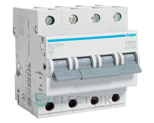 Автоматический выключатель MC420A 4P 6kA C-20A 4M, Hager