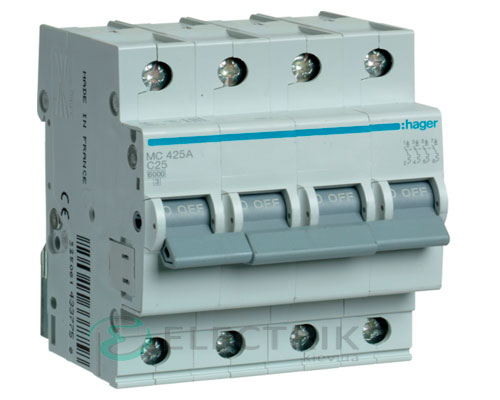 Автоматический выключатель MC425A 4P 6kA C-25A 4M, Hager