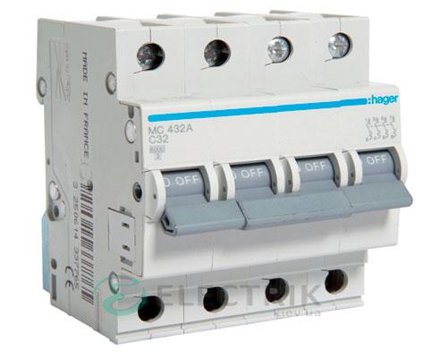 Автоматический выключатель MC432A 4P 6kA C-32A 4M, Hager