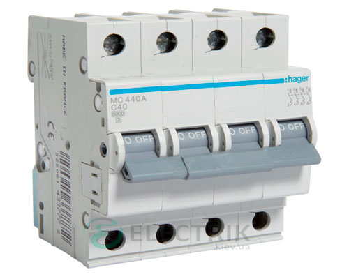 Автоматический выключатель MC440A 4P 6kA C-40A 4M, Hager