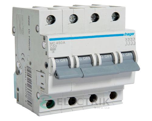Автоматический выключатель MC450A 4P 6kA C-50A 4M, Hager