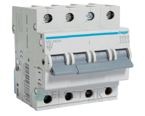 Автоматический выключатель MC463A 4P 6kA C-63A 4M, Hager