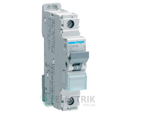 Автоматический выключатель NCN106 1P 10kA C-6A 1M, Hager