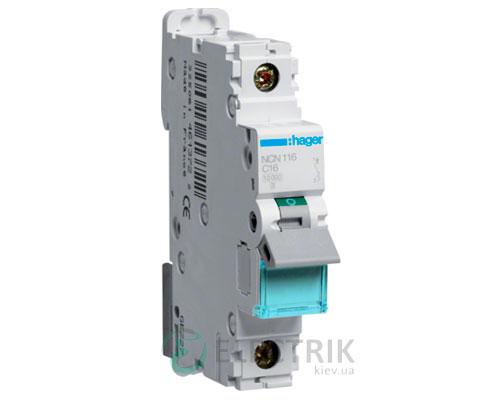 Автоматический выключатель NCN116 1P 10kA C-16A 1M, Hager