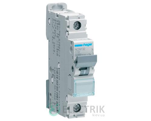 Автоматический выключатель NCN132 1P 10kA C-32A 1M, Hager