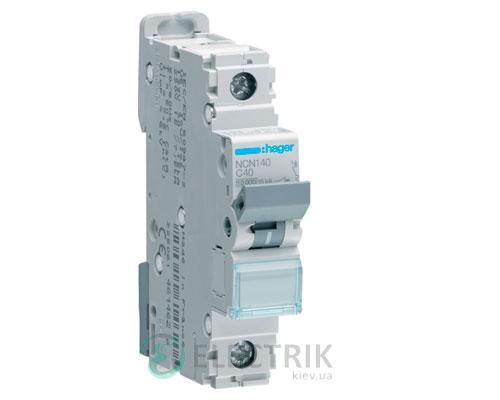 Автоматический выключатель NCN140 1P 10kA C-40A 1M, Hager
