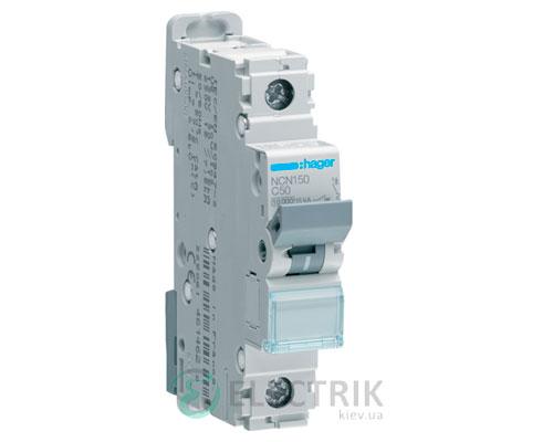 Автоматический выключатель NCN150 1P 10kA C-50A 1M, Hager
