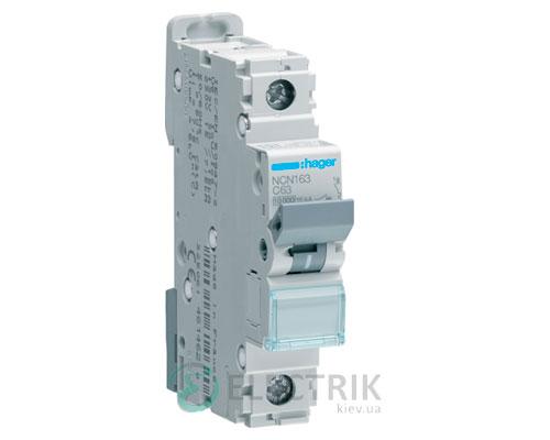 Автоматический выключатель NCN163 1P 10kA C-63A 1M, Hager