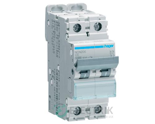 Автоматический выключатель NCN206 2P 10kA C-6A 2M, Hager
