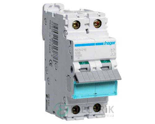 Автоматический выключатель NCN216 2P 10kA C-16A 2M, Hager