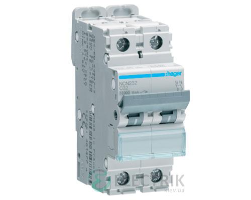 Автоматический выключатель NCN232 2P 10kA C-32A 2M, Hager