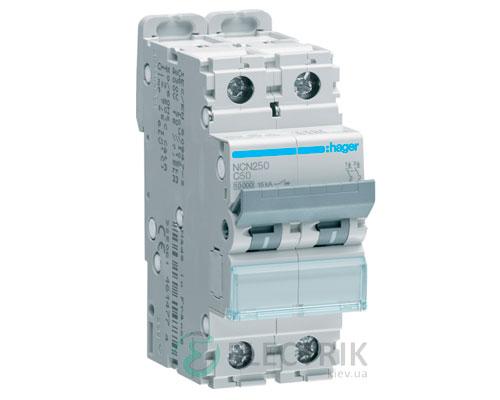 Автоматический выключатель NCN250 2P 10kA C-50A 2M, Hager